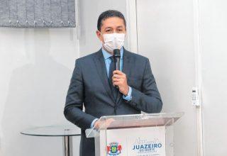 Glêdson durante evento da posse em 01 de janeiro